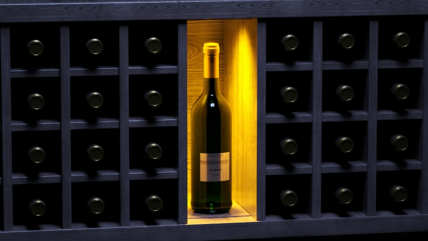 Wine cellar. One bottle is standing. Highlighted by a spotlight. Other bottles lie waiting for sommelier to be served. Luxury wine bottles. Delicious. Winery storage. Bar, pub, restaurant, club.  | Shutterstock HD Video #1041006740