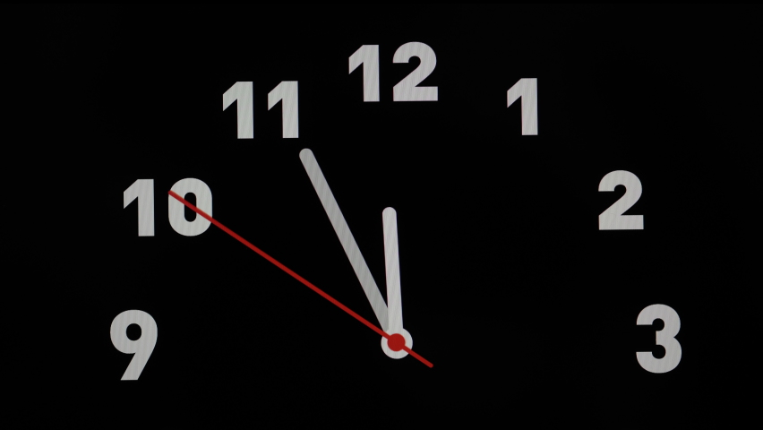 Stock 4k. Timelapse or time lapse of clock on black backgroungd and movement of clock hands. Royalty high-quality stock video footage time lapse of clock with three arrow white hands moving too fast