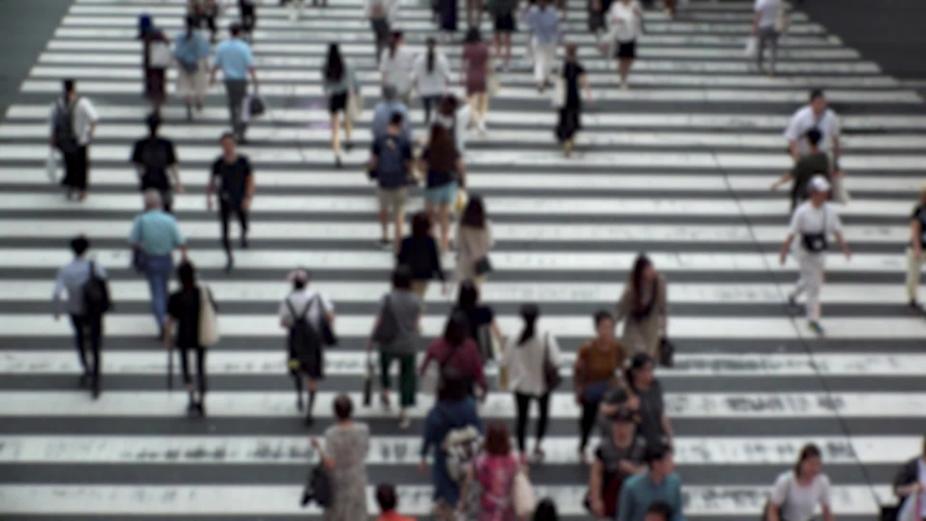 UMEDA, OSAKA, JAPAN - CIRCA SEPTEMBER 2019 : Aerial blurred high angle view of zebra crossing near Osaka train station. Crowd of people at the street. Shot in busy rush hour. Wide slow motion. | Shutterstock HD Video #1041098740
