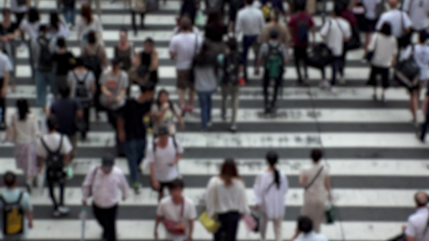 UMEDA, OSAKA, JAPAN - CIRCA SEPTEMBER 2019 : Aerial blurred high angle view of zebra crossing near Osaka train station. Crowd of people at the street. Shot in busy rush hour. Wide slow motion. | Shutterstock HD Video #1041098770