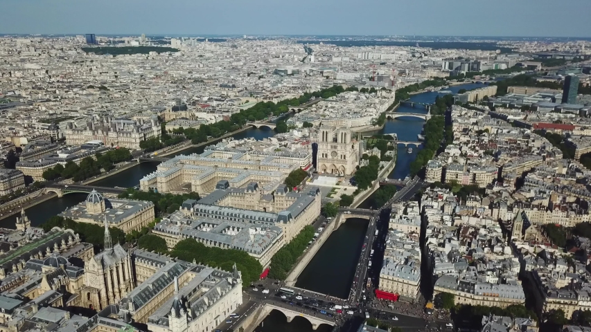 France, Paris. Aerial view to the cityscape at the city centre | Shutterstock HD Video #1041100390