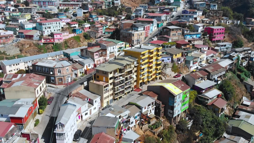City on the hills, Colorful Houses, cottages (Valparaiso, Chile) aerial view | Shutterstock HD Video #1041121300