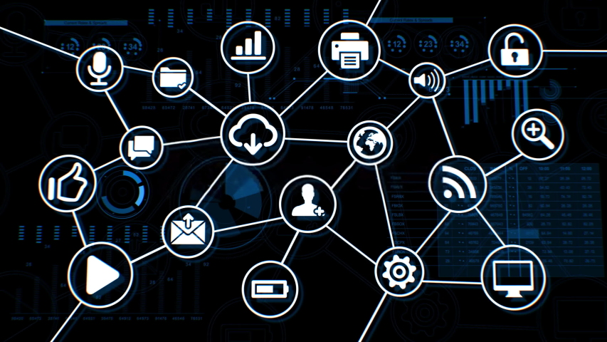 Beautiful Digital Blue Interface with Icons and Links Growing over the Business Graphs and Charts. Cyberspace Media Environment. Tech and Financial Concept. 4k | Shutterstock HD Video #1041274120