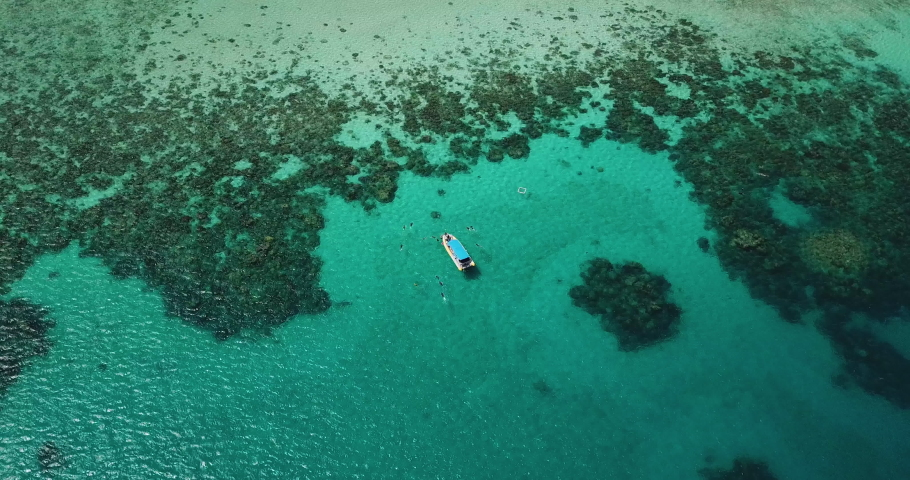 Aerial Drone Shot of Boat with Snorkelers out on the Great Barrier Reef Wide Shot Revealing the Grand Reef Queensland Australia | Shutterstock HD Video #1041355360