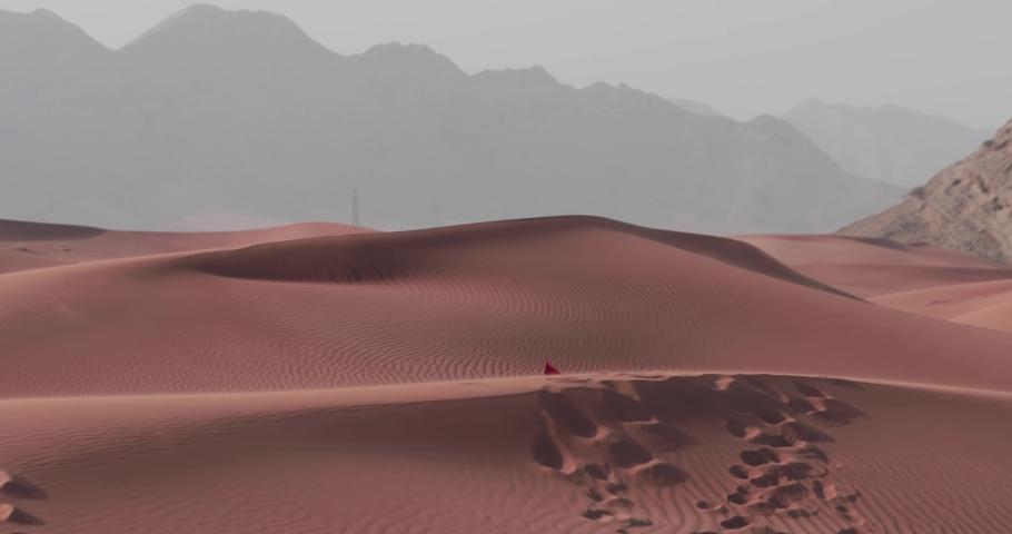 Arab Emirati man walking in desert holding UAE flag, celebrating national day | Shutterstock HD Video #1041390160