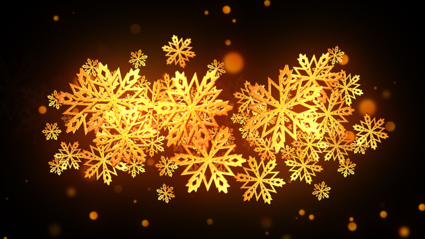 Animated Christmas Gold Snowflakes with alpha channel | Shutterstock HD Video #1041611290