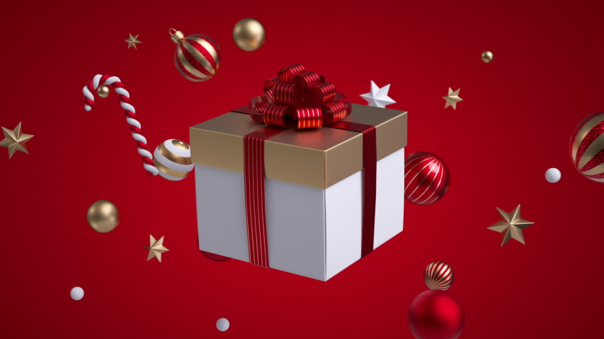 Abstract Christmas red background, golden and white ornaments stars and balls flying around square gift box. 3d objects. Minimal cycled animation   Shutterstock HD Video #1041669400