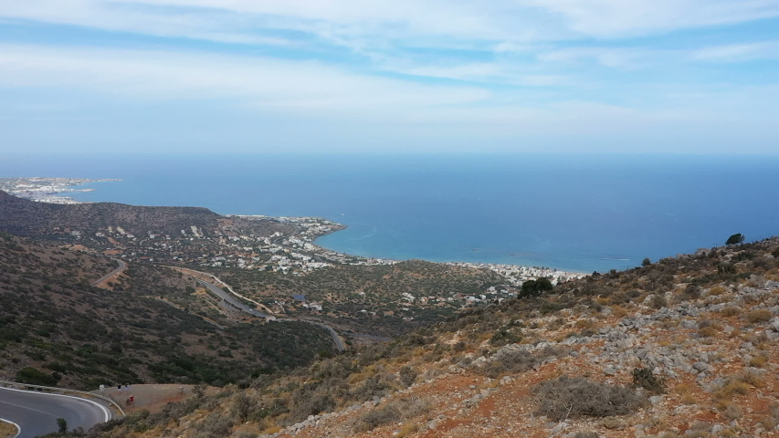 Beautiful aerial view of the Greek island of Crete. Sea view, mountains on Crete 2019 | Shutterstock HD Video #1041688810