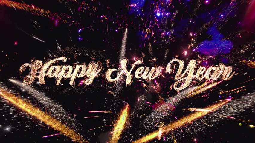 Happy New Year 2020 Greeting Text written with Sparkle firework. Beautiful fireworks in night sky background with golden typography and snowflake Fireworks in slow motion on dark night sky, 4K | Shutterstock HD Video #1041921790