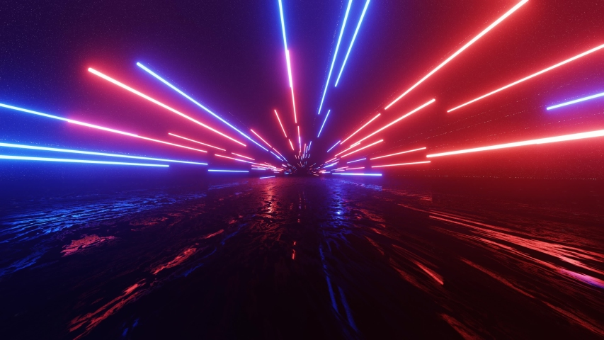 Horizontal glowing lines move in space. Abstract fluorescent background. Hyperspace. Neon background. 4K loop animation. | Shutterstock HD Video #1042023280