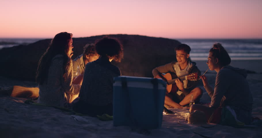 Beach Party at sunset with bonfire and roasting marsh mellows with friends RED DRAGON | Shutterstock HD Video #10422215