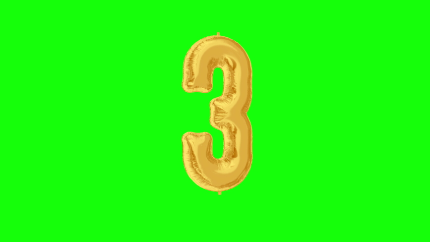 Gold foil number 3 three on green screen for anniversary celebration, festival, decorations and happy birthday. 4K video. | Shutterstock HD Video #1042254730