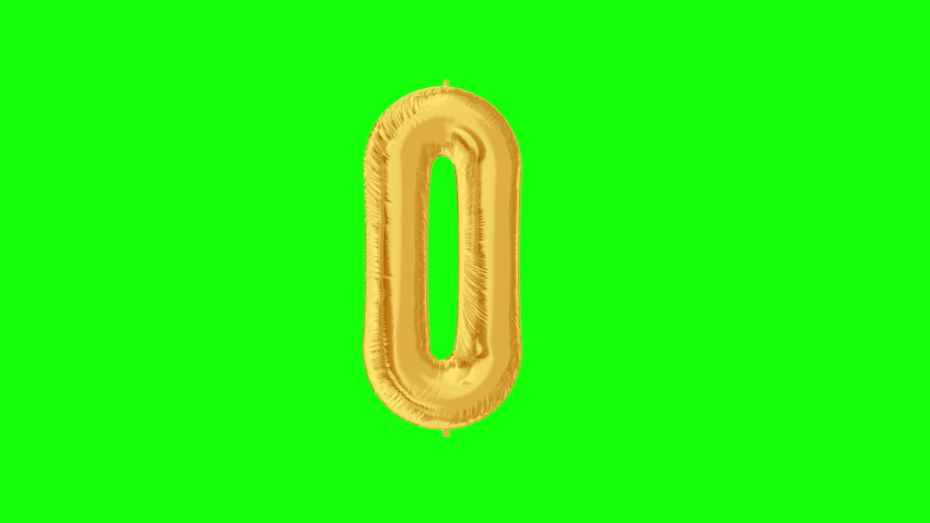 Gold foil number 0 zero on green screen for decorations. 4K video. | Shutterstock HD Video #1042254790
