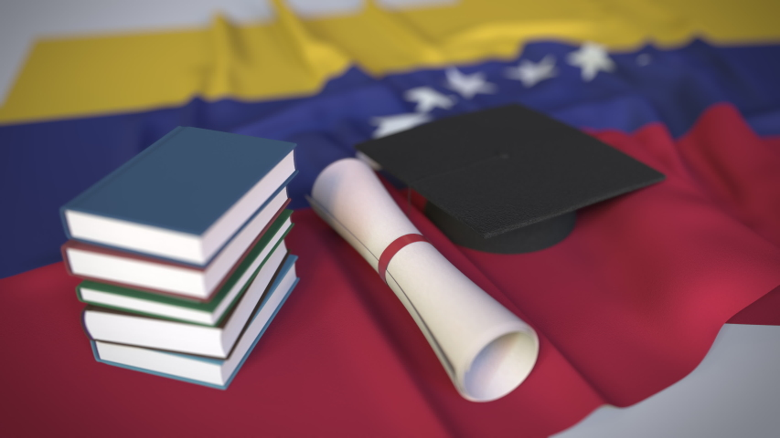 Graduation cap, books and diploma on the Venezuelan flag. Higher education in Venezuela related conceptual 3D animation   Shutterstock HD Video #1042295980