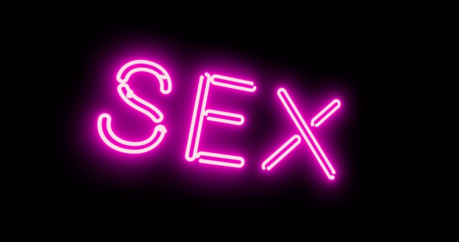 Neon sex sign as illuminated advertising for nightclub or massage. Glowing text message or fluorescent signage for love - 4k   Shutterstock HD Video #1042323730