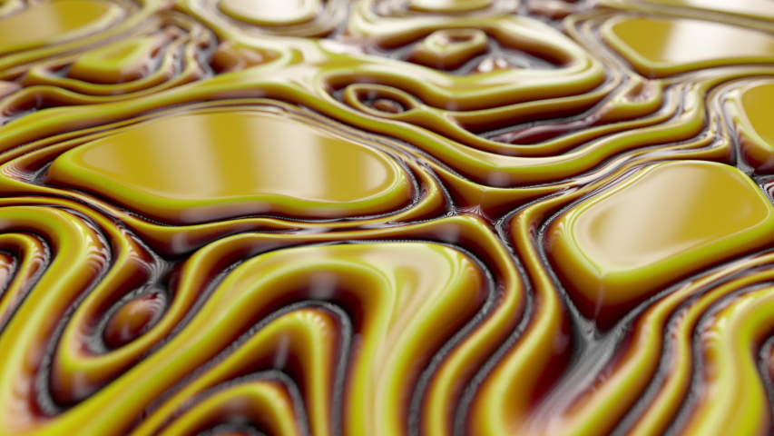 Abstract wavy dynamic surface. Yellow brown abstract liquid background with ripple wave. Motion design template. Seamless loop 4k 3d render. | Shutterstock HD Video #1042580980