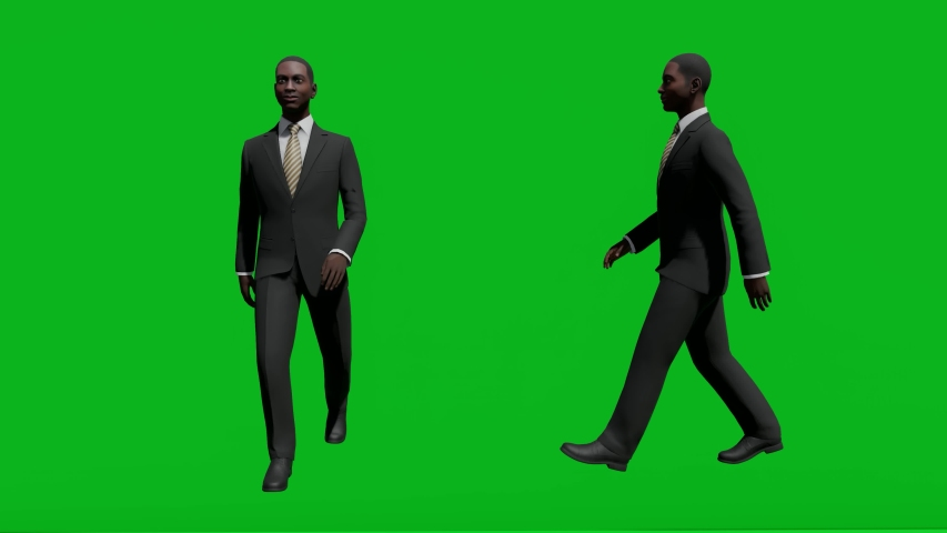 Business african man walking in front view and side view, realistic 3D people rendering isolated on green screen. | Shutterstock HD Video #1042602940