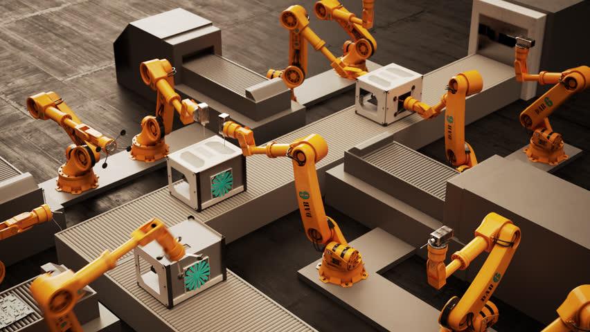 02285 Robotic Arm Assembling 3d Printer On Conveyor Belt | Shutterstock HD Video #10426736