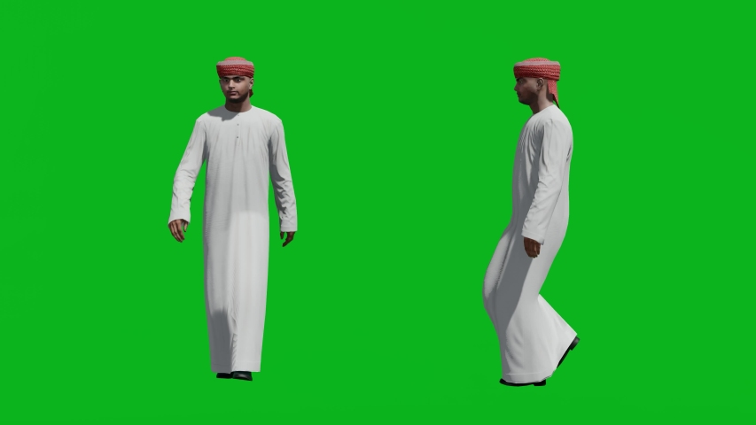 Arabic man walking in front view and side view, realistic 3D people rendering isolated on green screen. | Shutterstock HD Video #1042740550