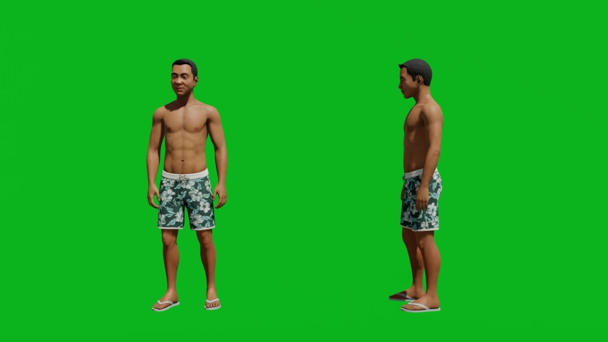 Asian man with summer outfit standing in front view and side view, realistic 3D people rendering isolated on green screen. | Shutterstock HD Video #1042740610