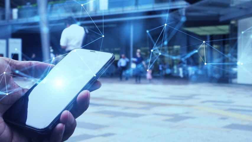 Mobile communication network concept. Digital transforamtion.   Shutterstock HD Video #1042773250