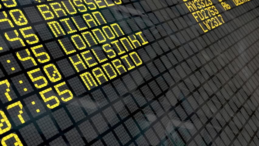 Close-up of an airport departure board to european cities destinations, with environment reflection.Part of a series. 4k video resolution (4096x2304).