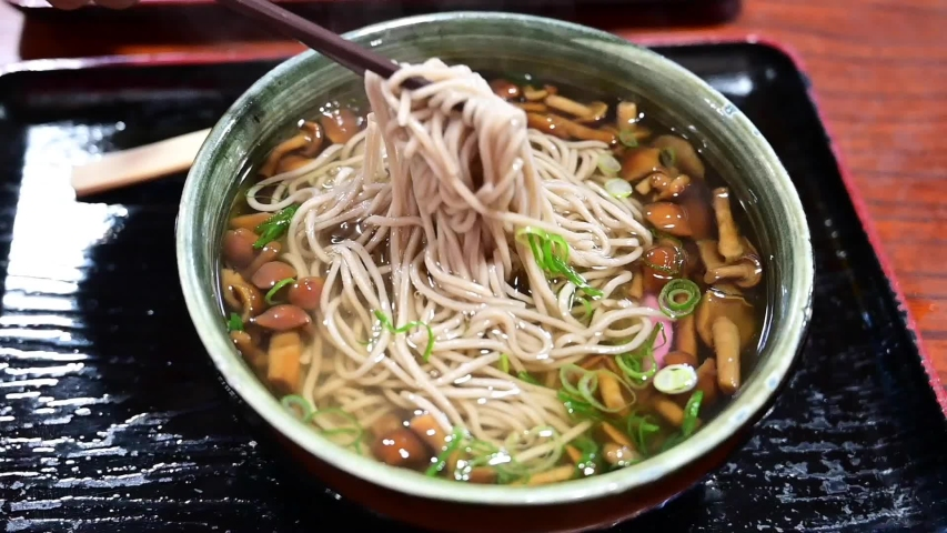 Mushroom ramen is good for health on the background | Shutterstock HD Video #1042865290