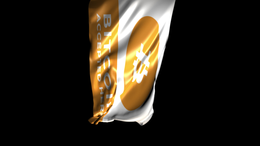 """""""Bitcoin accepted here"""" flag animation. Vertical Video 