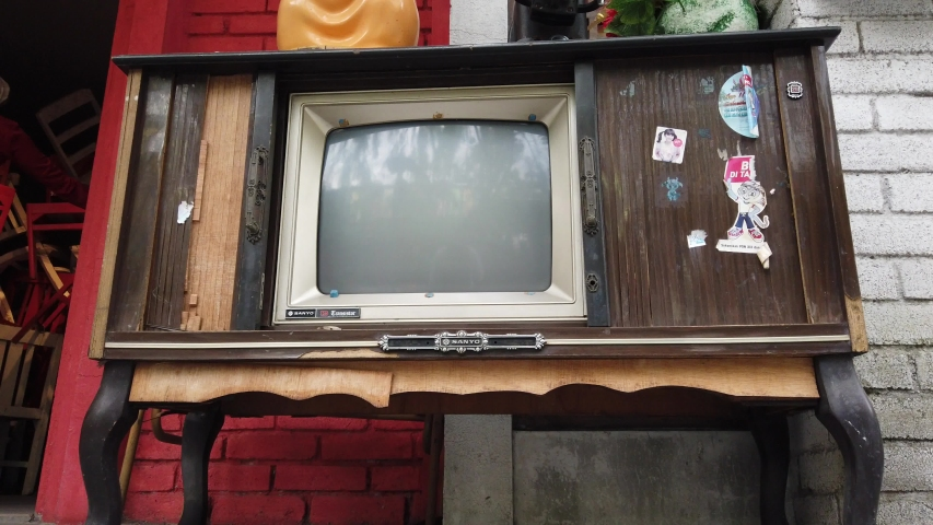 Bandung, West Java / Indonesia - August 25, 2019: Established Shot of Vintage Television Collection at Chinatown Bandung | Shutterstock HD Video #1043069800