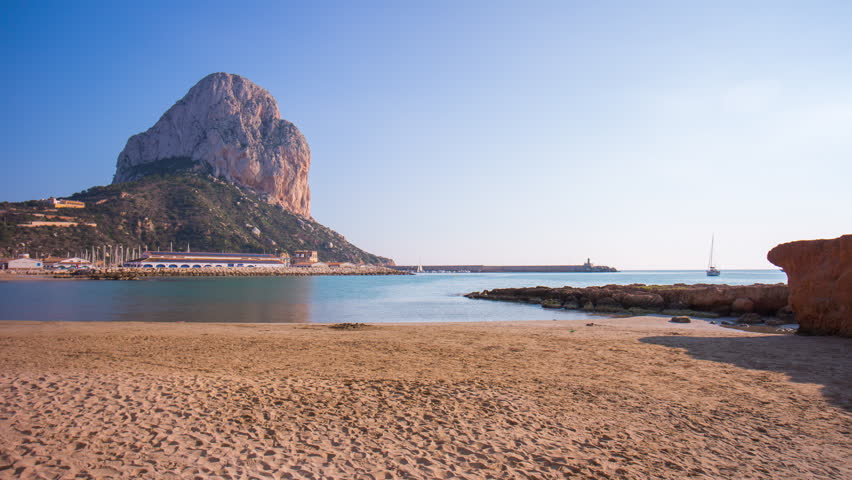 Calpe sunny day beach mountain panorama 4k time lapse spain | Shutterstock HD Video #10434230