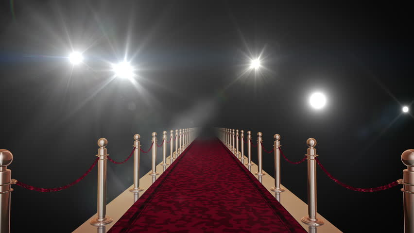Red carpet with gold barriers, velvet ropes and flashlights in the background. 3D rendering in 16bit with alpha matte.