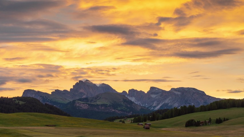 4K Time lapse of Seiser Alm at sunset, Dolomites, Italy  | Shutterstock HD Video #1044047800