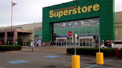 Pitt Meadows, BC, Canada - June 16, 2015 : The entrance of Superstore in Pitt Meadows BC Canada.