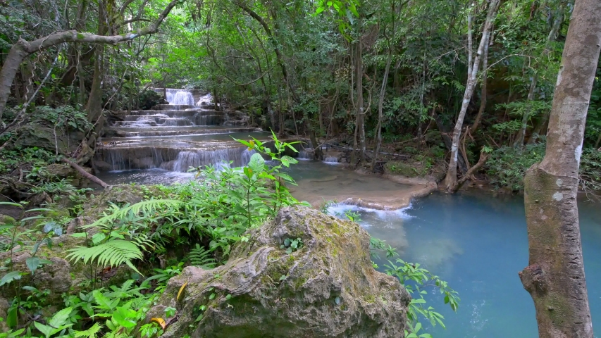 Deep forest Waterfall, Kanchanaburi, Thailand  | Shutterstock HD Video #1044597550