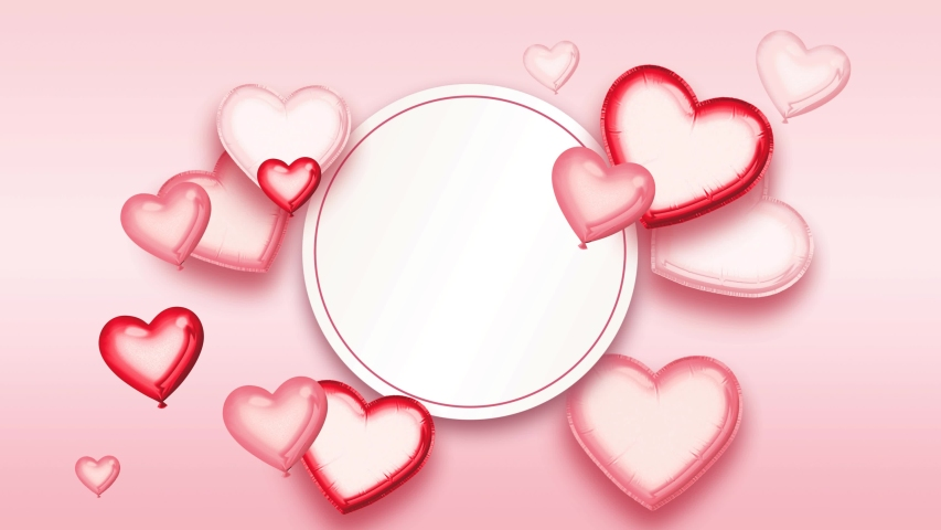 Valentine's Day or wedding animated background. Round copy space with heart shaped balloons on pink background. Two versions. Object masks included. | Shutterstock HD Video #1044658720