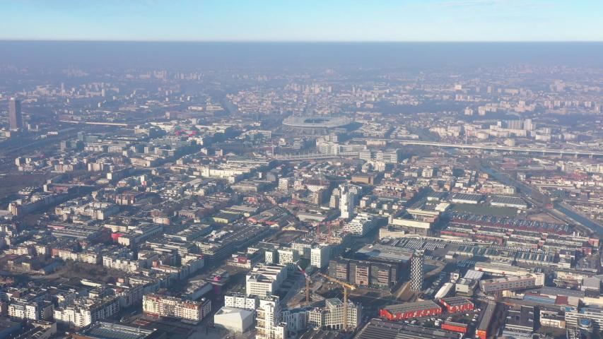 Saint denis France Paris Stadium aerial day view pollution industrial district  | Shutterstock HD Video #1044661660