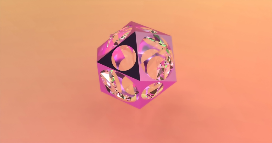 Abstract polygonal object with a glass sphere on the background of trendy colors. Able to loop seamless 4k | Shutterstock HD Video #1044764470