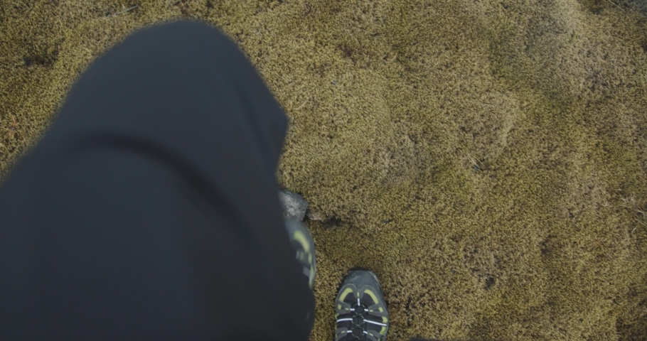 Shoes and legs walking moss ground, top down view | Shutterstock HD Video #1044782770