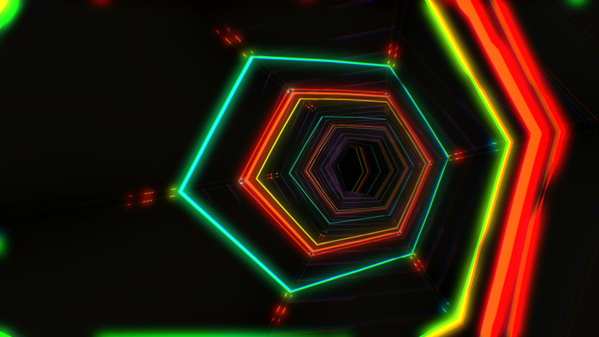 Futuristic hud red hex tunnel seamless vj loop 4k neon motion graphics for led tv music show concerts bright retro cosmic night club 3d animation with data flow concept for speed and connection | Shutterstock HD Video #1044806680