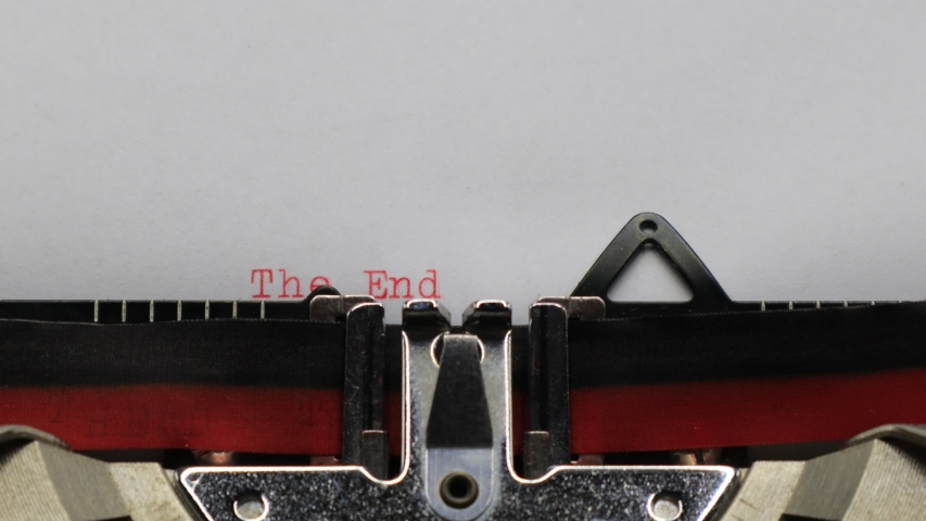 Typing THE END with an old vintage Typewriter   Shutterstock HD Video #1044834310