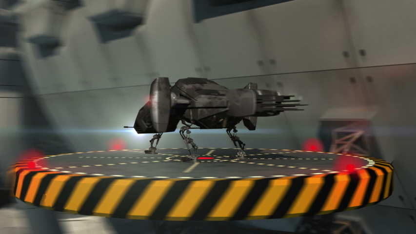 Drones taking off a futuristic alien spaceship or military spacecraft in deep space.   Shutterstock HD Video #1044853480