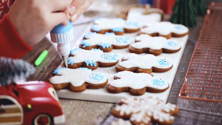 Step by step. Decorating gingerbread cookies with royal icing.   Shutterstock HD Video #1044885370