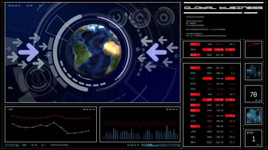 GUI (Graphical User Interface). Global communication network concept. Worldwide business. | Shutterstock HD Video #1044921580