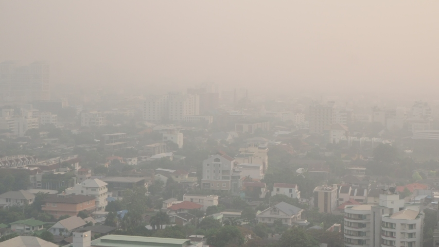 Cityscape of Bangkok covered by mixture of dust in air pollution, situation of air pollution 2.5 pm in Bangkok, Air pollution in big city,  it is unhealthy. | Shutterstock HD Video #1044994570
