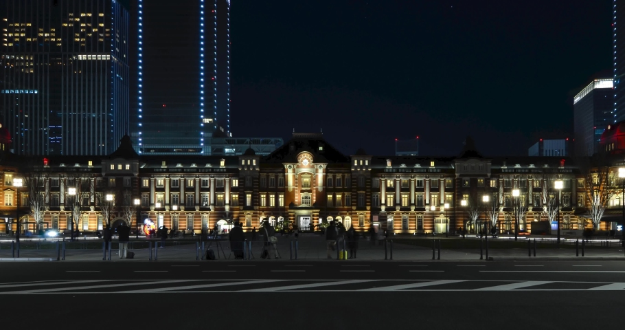 Night time Timelapse in front of Tokyo Station with some traffic and many people.Tokyo Train Station Courtyard Area in night time.Famous tourist attraction in Tokyo. | Shutterstock HD Video #1045006240