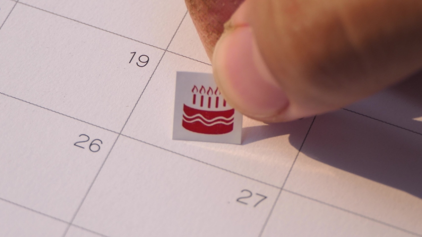 Cake stickers for birthday holidays in calendar | Shutterstock HD Video #1045025290