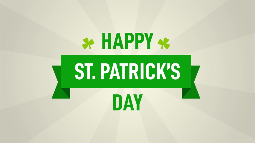 St. Patrick's day title animated on a light beige background with spinning features behind the scene. Irish holiday greeting. | Shutterstock HD Video #1045032790