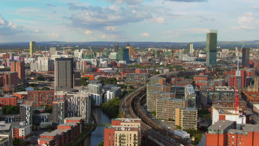 Manchester aerial view drone flying orbit over city center uk england 4k | Shutterstock HD Video #1045193920