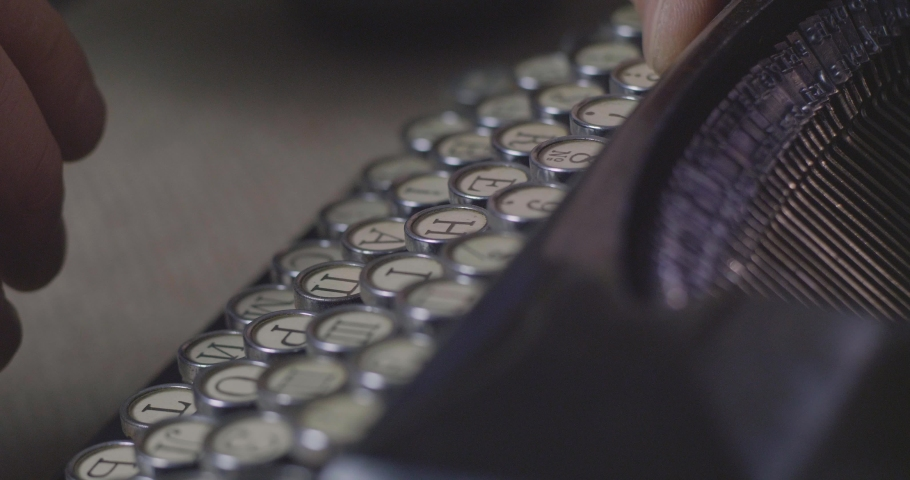 Close Up Shot A Man's Hands Are Typing On A Old Vintage Retro Typewriter. Russian Alphabet. Media Or Communication Concept. Cinema 4K Video | Shutterstock HD Video #1045227490