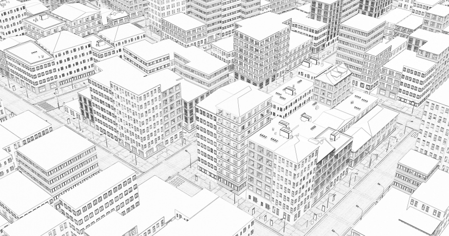 3d City Drawing In Sketch Stock Footage Video 100 Royalty Free